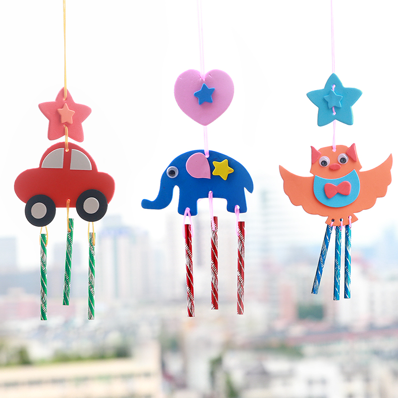 Kids DIY EVA Fabric Wind Chime Bells Handmade Craft Windbell Early Educational Puzzle Toys For Children Gift Random Patterns
