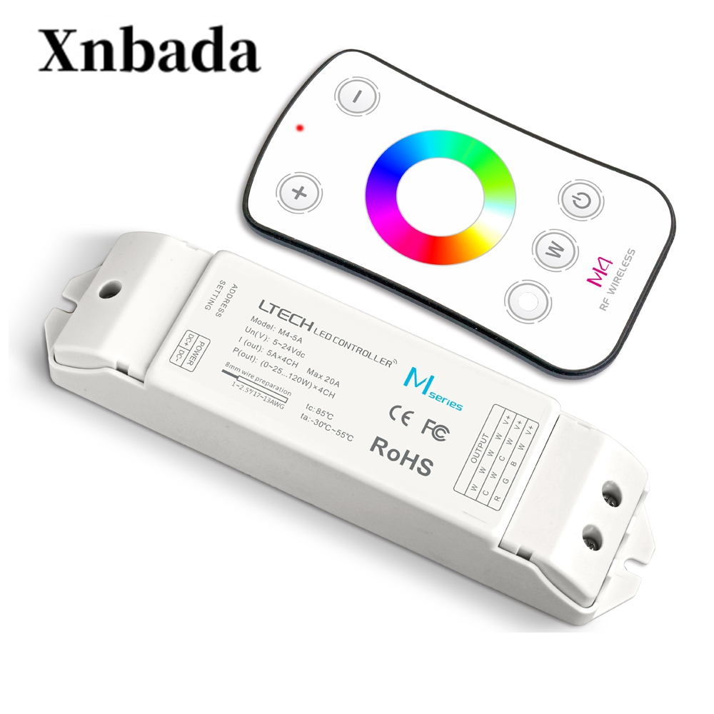Nouveau Led RGB RGBW contrôleur M4 télécommande M4-5A CV récepteur 2.4G RF sans fil à distance 5A * 4CH 20A pour 5050 3528 RGB RGBW bandes utilisation