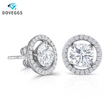 DovEggs 10K White Gold 2.24CTW 6.5mm H color Moissanite Stud Earring with Jackets Sterling Solid 925 Silver Push Back for Women