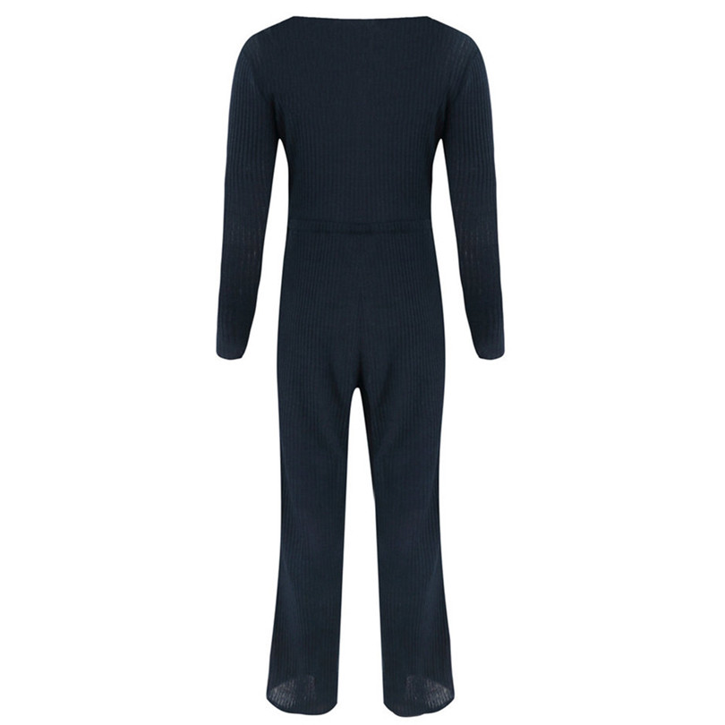 Long Sleeve Sexy Jumpsuit V Neck Rompers Womens Jumpsuit Button Lace Up Jumpsuit Plus Size Casual Macacao Feminino 40SY1412