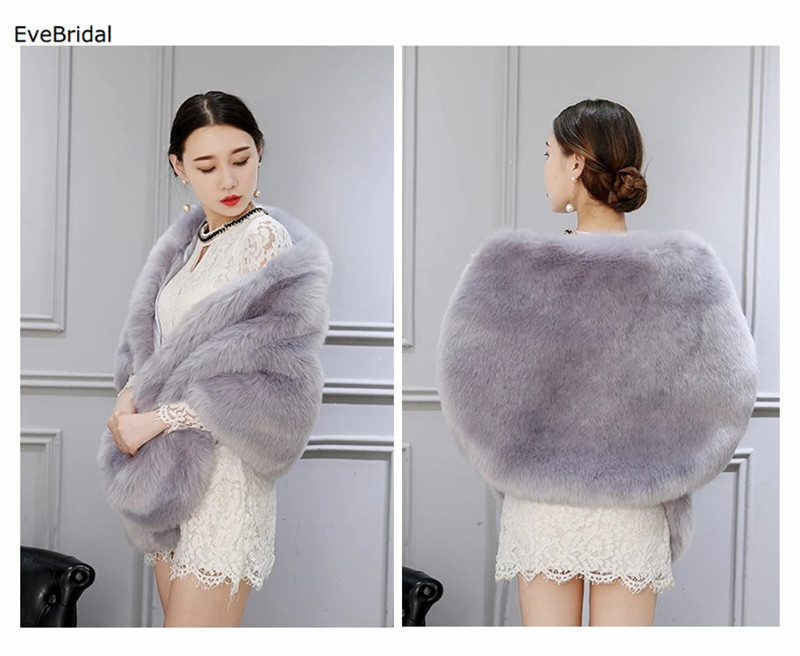 Купить с кэшбэком Faux Fur Wedding Bridal Shawl Winter Wrap Prom Shrug Bolero Cape Jacket Coats No15953