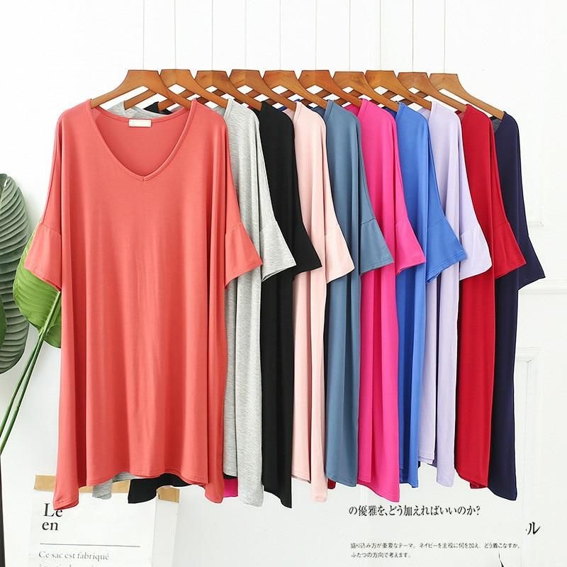 Women Modal Pregnant Sleepwear Girls Nightwear Female Summer Cotton Short Sleeve V-neck Loose Long Nightgowns Ladies Sleepshirt