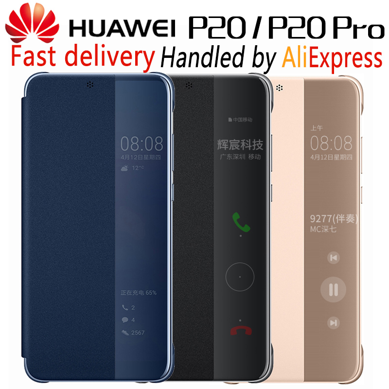 HUAWEI P20 Pro Case Original Official Smart View HUAWEI P20 Case Plating Mirror Window Flip Leather Phone Case Cover funda coque