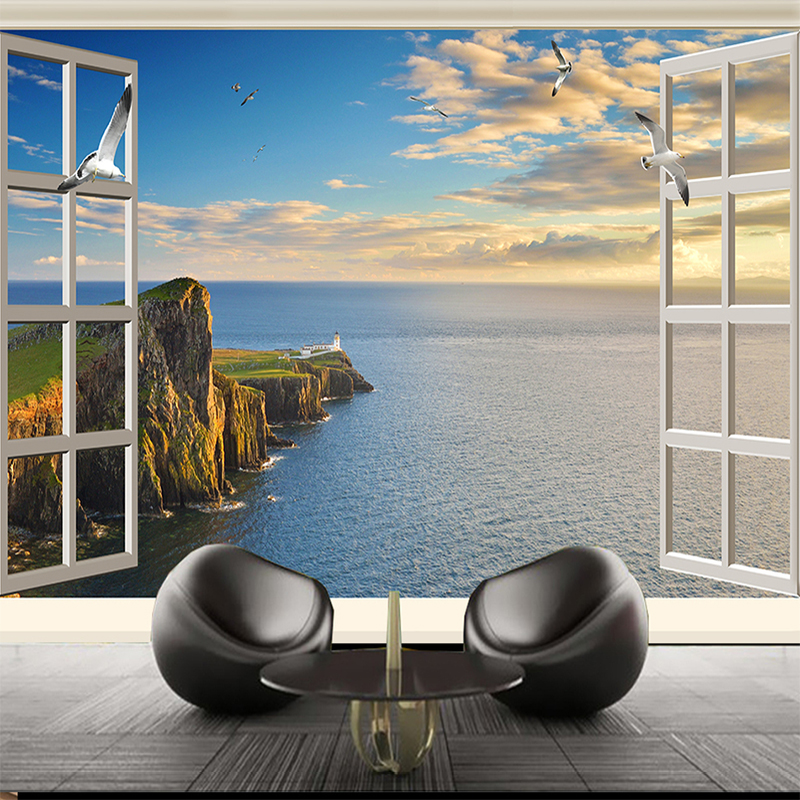 Custom 3D Wallpaper Murals HD Window Seaview Large Wall Painting Living Room Bedroom Background Wall Decoration Mural Wall Paper