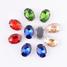 13x18mm Oval Shape Glass Rhinestones With Claw Sew On Crystal Stone Strass Diamond Metal Base Buckle For Clothes 50pcs