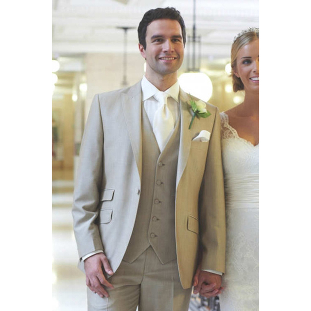 2017 new Beige Men Wedding Suits Prom ternos Tuxedo Slim Fit 3 ...