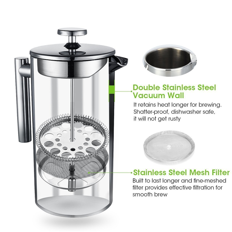 Coffee Press Stainless Steel French Press Cafetiere Coffee Maker Double Walled Construction 3 Pieces Gifts 350 700 1000ML