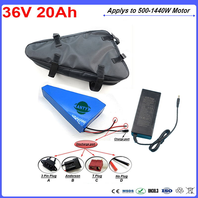 1080W 36V 20Ah Triangle Lithium Battery Pack 36V Built-in 30A BMS With Bag 42V 2A Charger E-Bike Battery 36v Free Shipping free customs taxe 36v 1000w triangle e bike battery 36v 40ah lithium ion battery pack with 30a bms charger for panasonic cell