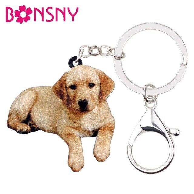 Bonsny Acrílico Cão Labrador Retriever Chaveiro Chaveiro Anel New Animal Jóias Para Menina Das Mulheres Amantes do animal de Estimação Saco Carro Bolsa encantos