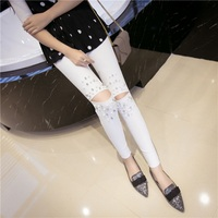 New Women Casual Cotton Solid Pants Hole And Rivet Slim Skinny Ankle-Length Pencil Fashion Pant