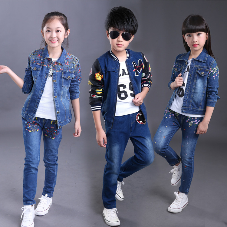 Boys and Girls Denim Clothing Sets Children Clothing Spring Autumn Large Children's Fashion Coat + Pants Two-Piece Set Costume baby children s clothing boys and girls set sweater autumn winter warm new fashion gold velvet leisure sports two piece a8888