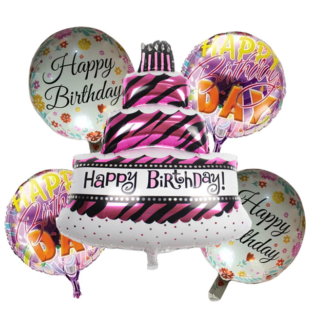 5 Pieces Birthday Cake Foil Balloons Helium Balloon Globos Inflatable Happy Air Balls Children Party Supplies