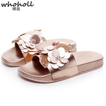 WHOHOLL Summer Flowers Slippers Female Style Slipper Flat sandals Bottom Anti-skid Fashion Outwear Thick Soft Bottom Slides summer solid soft leather fish head female slippers flat soft bottom comfort leisure women slipper lazy people slides sjl148