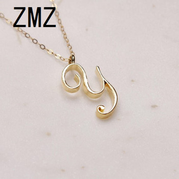 ZMZ 50pcs/lot 2019 Europe/US fashion English letter pendant lovely letter Y text necklace gift for mom/girlfriend party jewelry