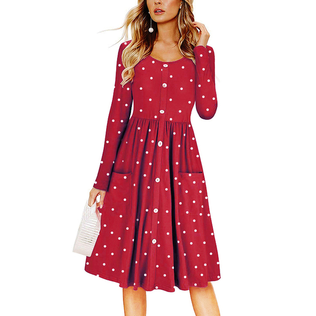 Elegant Dot Long Dress Women O-neck Long Sleeve Party Vintage Dress Autumn Boho Beach Dress Tunic Vestido Korean Plus Size