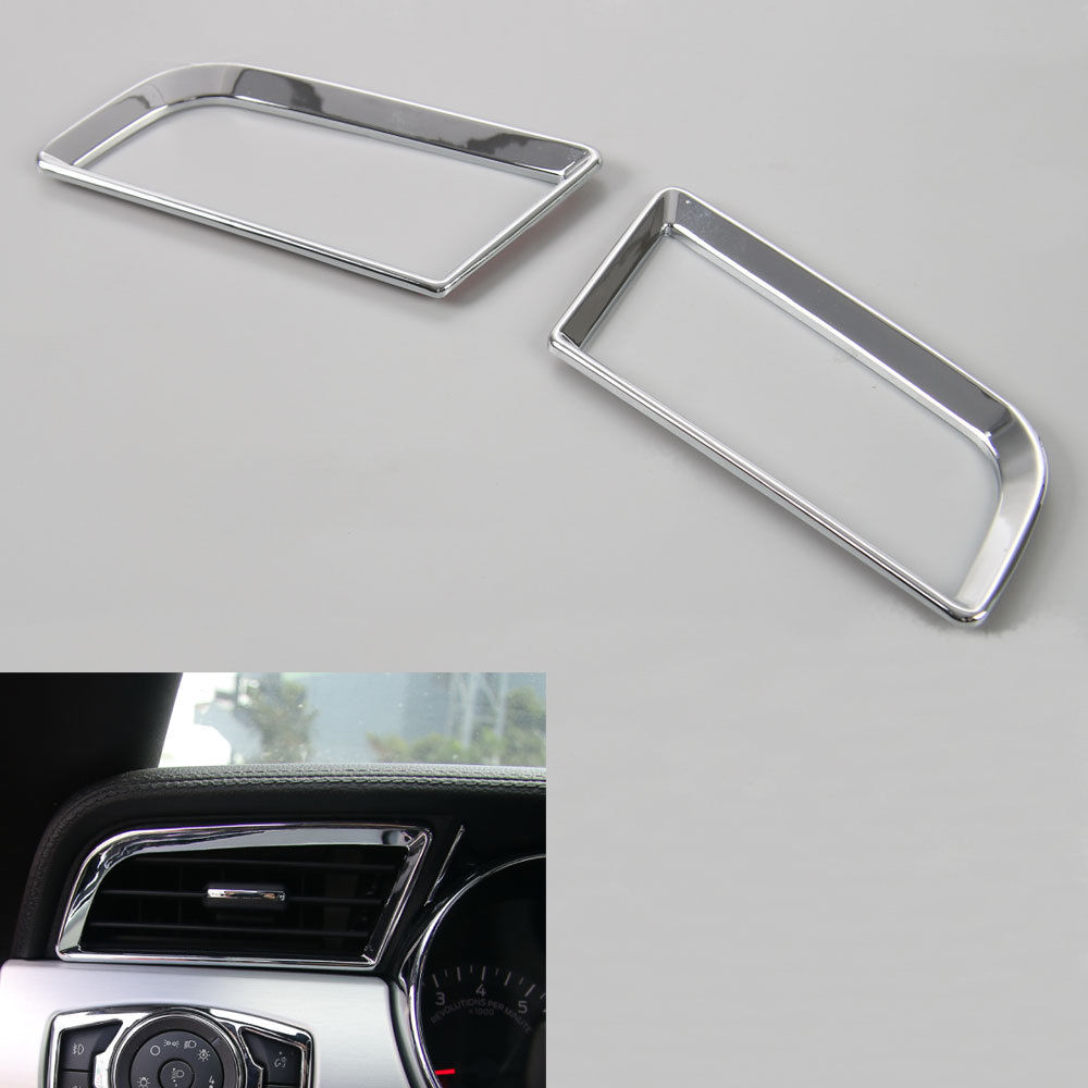 BBQ@FUKA 2Pcs Car Dashboard Side Left&Right Air Condition Vent Cover Ring Trim Fit For Ford <font><b>Mustang</b></font> <font><b>2015</b></font> 2016 Car <font><b>accessories</b></font> image