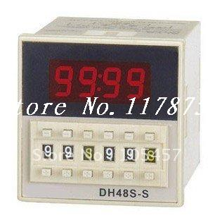 220VAC digital time delay repeat cycle relay timer 1s-990h LED display 8 pin panel installed DH48S-S SPDT 1pc multifunction self lock relay dc 12v plc cycle timer module delay time relay