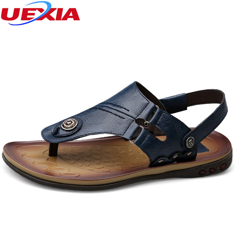 UEXIA Handmade Beach Breathable Mens Sandals Leather Zapatillas Hombre Summer Men Casual Shoes Outdoor Sandals Plus Size 37-47