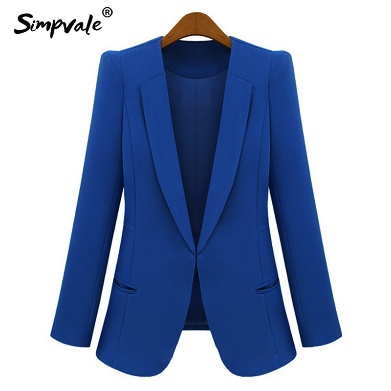 SIMPVALE Solid Color Women Business Office Thin Blazer Spring Autumn Work Wear Draped Lady Elegant Slim Jacket blazer damen