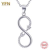 YFN Sterling Silver Jewelry Infinity Symbel Love You Forever Charm Zirconia Free Shipping GNX8990
