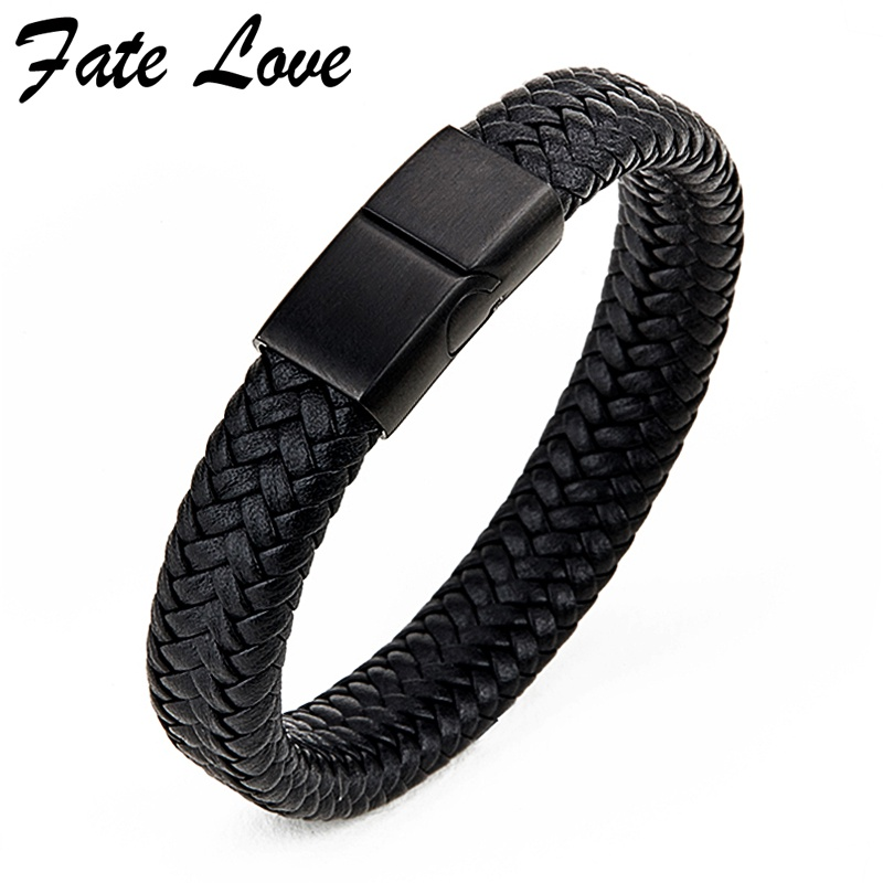 Black Leather Bracelet Men Jewelry Pulseira Masculina Handmade Mens Fashion Bracelets 2018 Unice Jewellery Stainless Steel Clasp ...