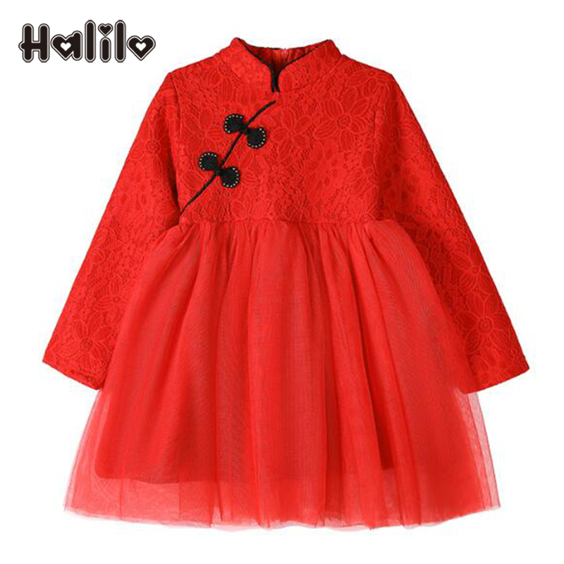Halilo Little Girls Dresses Autumn Winter Plus Velvet Toddler Dresses Lace Girls Party Dress Chinese Style Girl Princess Dress