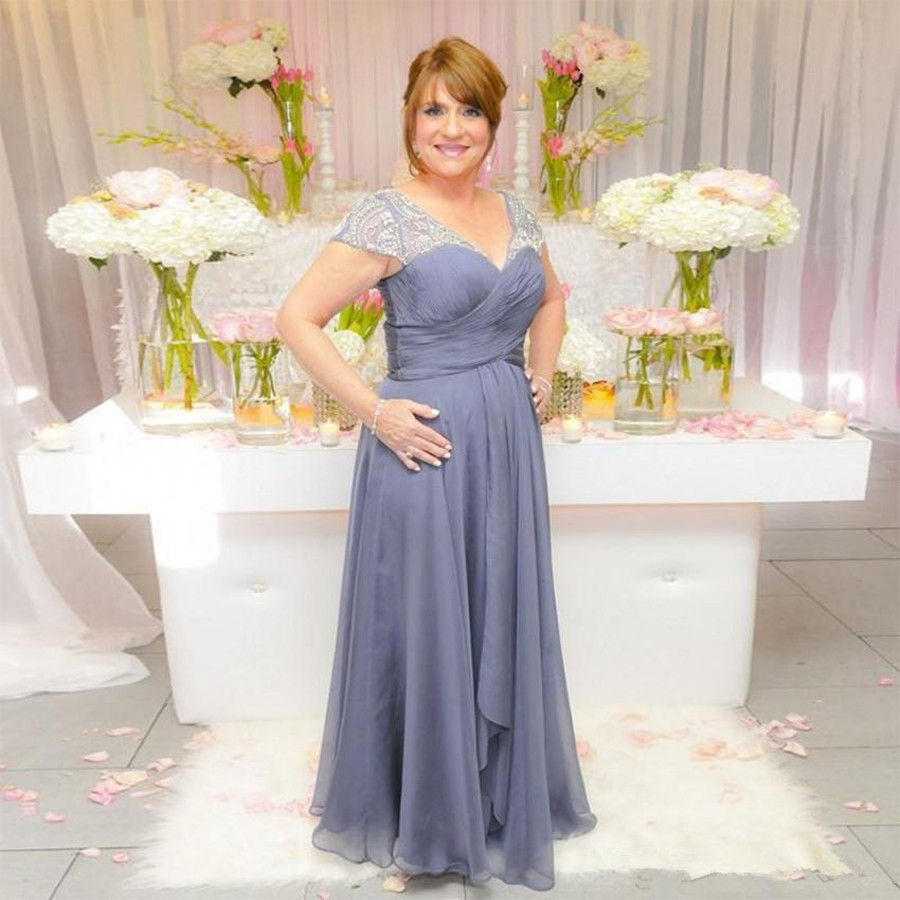 Robes d'invités de mariage 2019 perles de cristal mère de la mariée robes de grande taille vestido de noiva robe de mariée longue pli
