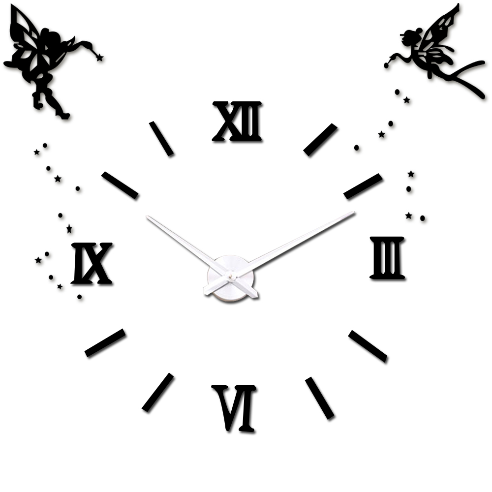 Angel Wings 47 '' 3D Wall Clock Roman Numbers Mirror Acrylic DIY Large Wall Clock Sticker Home Office Decor