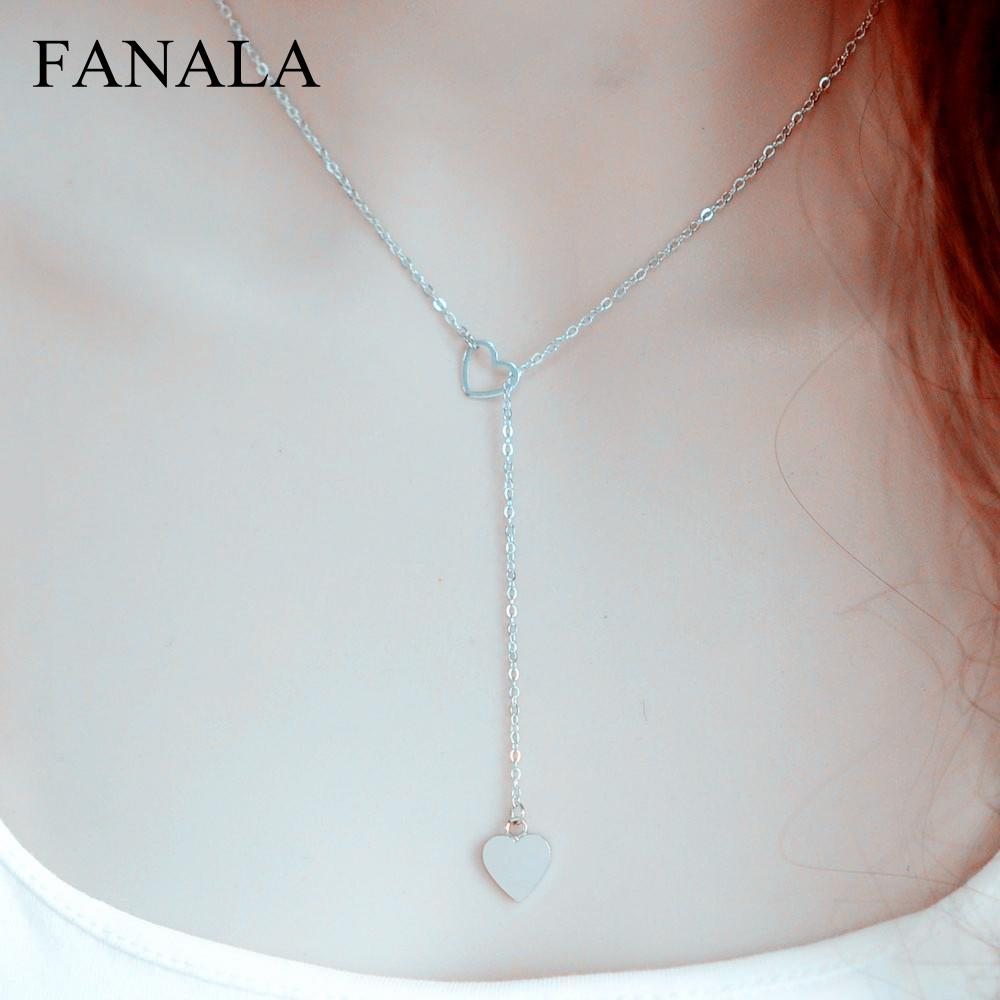 New trendy heart necklace chain N2123 jewelry copper link women for girl fashion gift