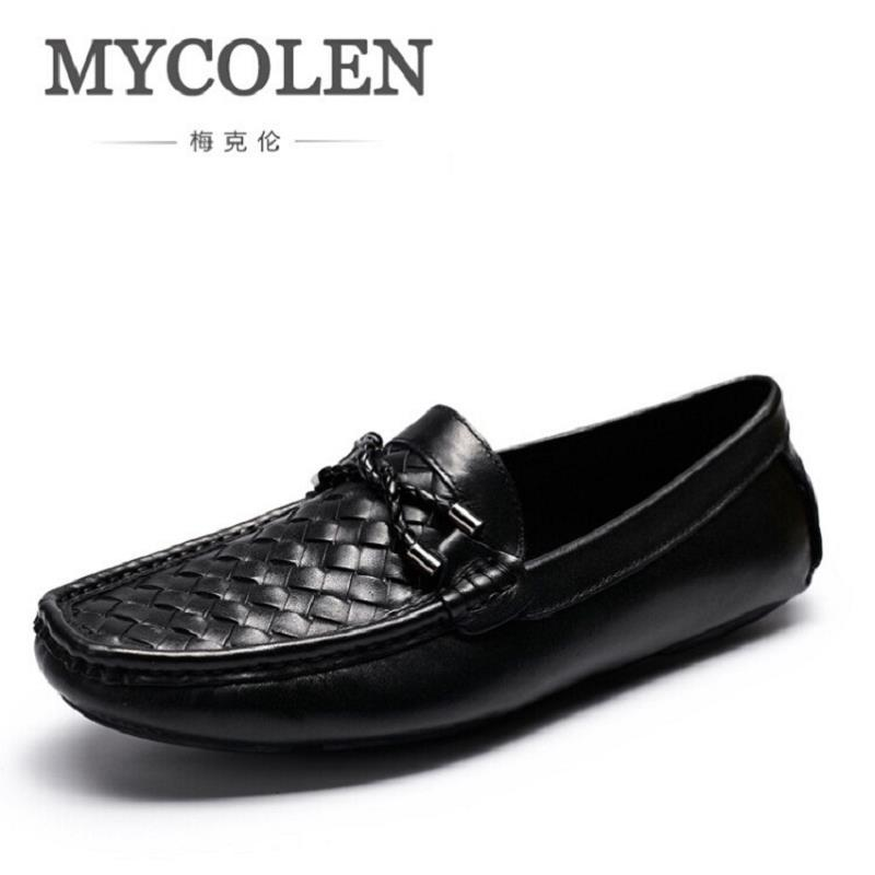 цена MYCOLEN Luxury Genuine Leather Loafers Men Shoes Classic Plaid Mens Casual Boat Shoes Designer Fashion Wedding Shoes Zapatos