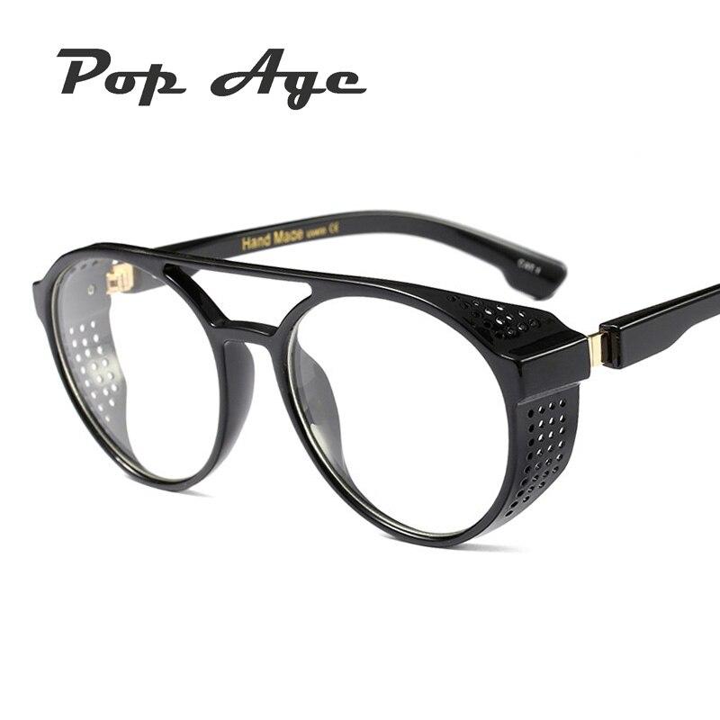 Pop Age New Fashion Classic SteamPunk Clear lens glasses Brand Designer Men Retro Round Plain glasses Driving Eyeglasses Frames in Men 39 s Sunglasses from Apparel Accessories