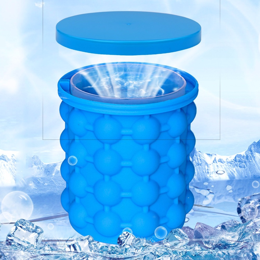 Upgrade Ice Cube Tray Mold Silicon Ice Cube Maker Ice Genie Gun Bullet Bucket Shape Ice Cream Tub Set For Party Drink Whisky