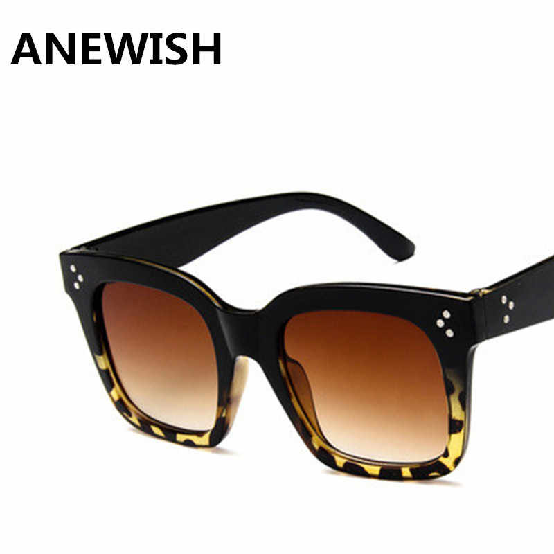 cb749d9227 ANEWISH Black Leopard Women Square Big Frames Sunglasses Tea UV400 lenses  Men sun glasses eyewear oculos de grau sol feminino