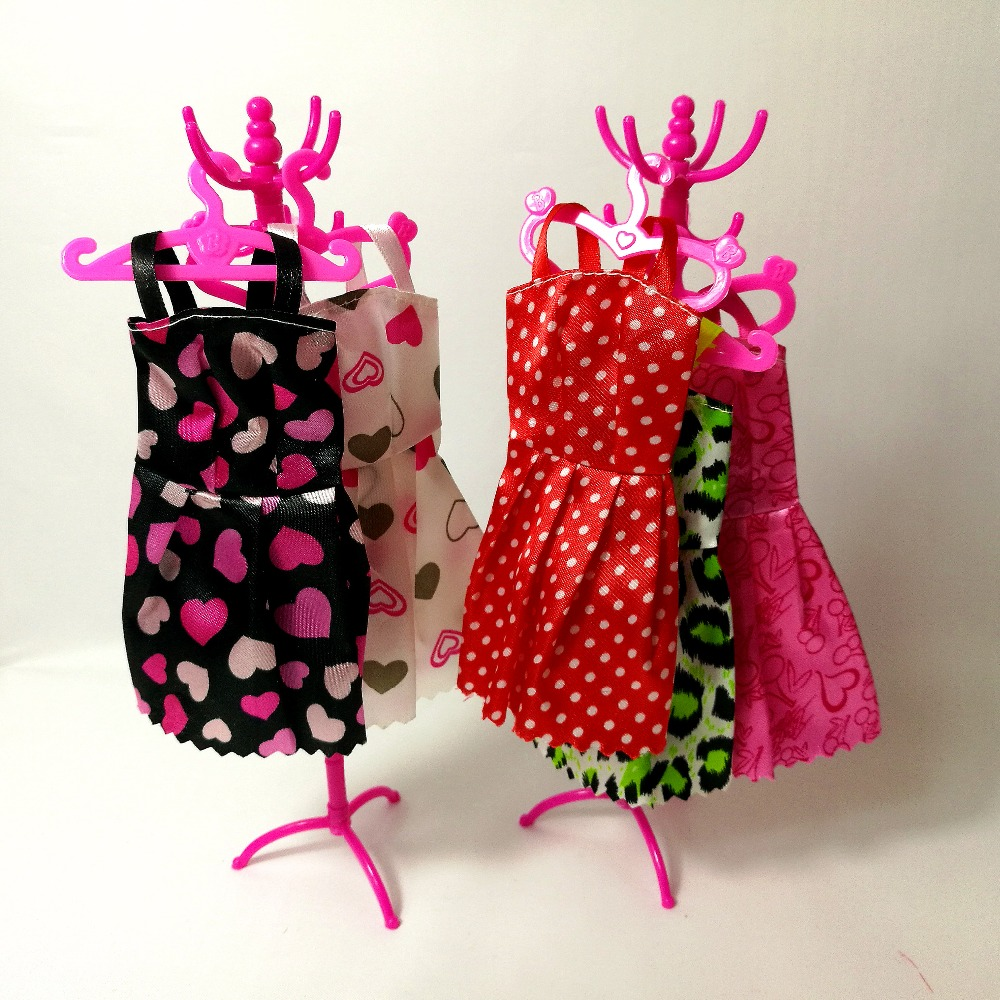 Pink Set Mix Hangers Coat Rack Accessories For Barbie Clothes Dress Outfit Skirt Shoes Doll Pretend Play House Girls' Gift Toy free shipping 5set 5 clothes 5 trousers jacket outfit pants outwear suit set coat for barbie doll dress clothes gift set