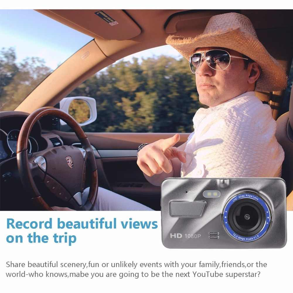 """داش كام جديد سيارة بعدسة مزدوجة كاميرا DVR كامل HD 1080P 4 """"IPS الجبهة الخلفية الأزرق مرآة للرؤية الليلية مسجل فيديو شاشة للمساعدة في ركن السيارة بسهولة"""