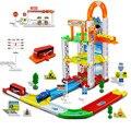 48 unids simulación estacionamiento juguete montado tres vagones de ferrocarril pista toys toys abs coche órbita escaleras corredor de coches de slot para niños