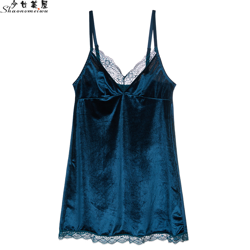 Winter Europe And The United States Sexy Lace Halter Nightdress Thin Style Home Wear Living Wear Short Skirt For Women