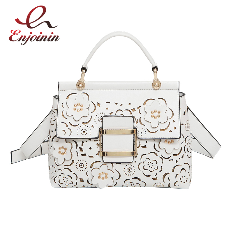 New style elegant flowers hollow fashion casual ladies totes purse handbag shoulder bag female crossbody messenger bag 3 colors  new arrival fashion color rivet metal decoration female totes shoulder bag handbag women s crossbody messenger bag 2 colors