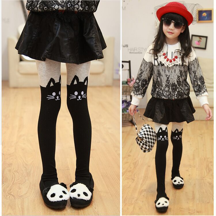 2018 Autumn Girls Tights Cartoon Cat Baby Girl Pantyhose Cotton Kids Stocking Baby Pantyhose 80-130 Cm