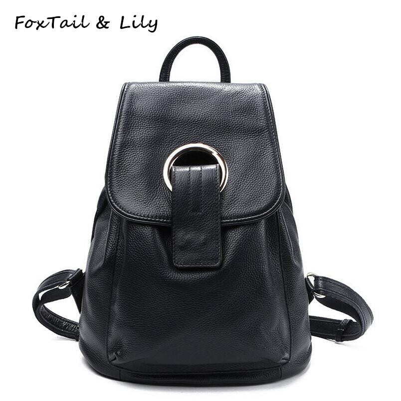 FoxTail & Lily Famous Designer Genuine Leather Backpack for Women High Quality Travel Bag Fashion School Backpacks for Girls high quality authentic famous polo golf double clothing bag men travel golf shoes bag custom handbag large capacity45 26 34 cm