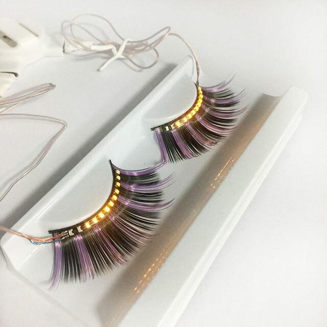 Online Shop Colorful Led Eyelashes Luminous Shining Eyelash For