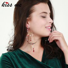 Korean Hot Sale Unique Shing Red Star Moon Drop Earrings China Jewelry Factory Wholesale