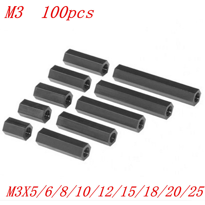 100pcs/lot M3*5/6/8/10/12/15/18/20/25 black Nylon standoff 3mm female to female nylon plastic spacer long hex nut 100pcs m3 black nylon standoff m3 5 6 8 10 12 15 18 20 25 30 35 40 6 male to female nylon spacer