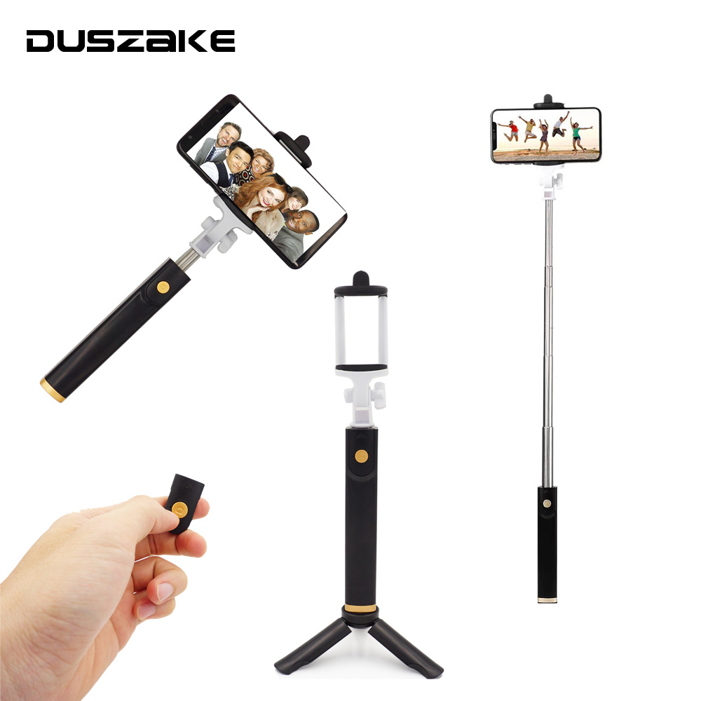DUSZAKE Extendable Bluetooth Selfie Stick Tripod Handheld Monopod For Phone Mini Selfie Stick Bluetooth Tripod For iPhone Xiaomi 2018 khp mini selfie stick tripod wired silicone handle monopod universal selfie stick for iphone android xiaomi selfie sticks