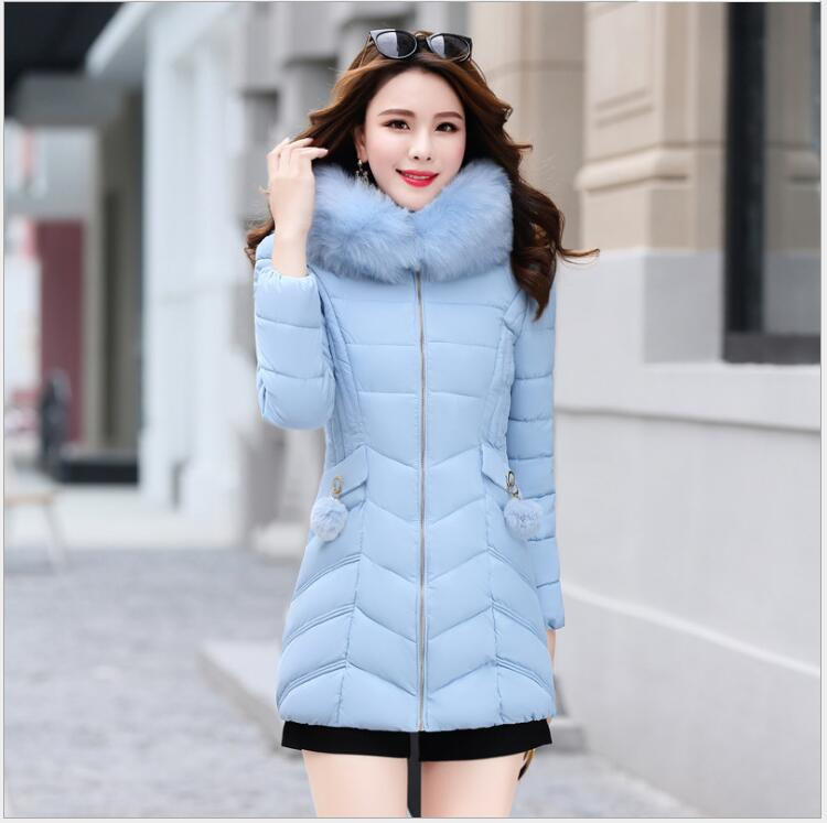 2017 new Korean version of the long paragraph   thickening Slim  clothing  large hair collar warm cotton jacket   women's tide 2017 winter in the long section of the cotton men korean version of the loose hong wind thickening of large yards of clothing