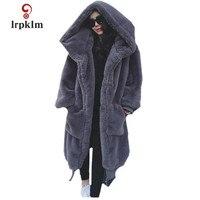 2018 New Fashion Women Winter Coats Whole Leather Rex Rabbit fur Coat Hooded Large Size Loose Warm Fur Long Coat PQ338
