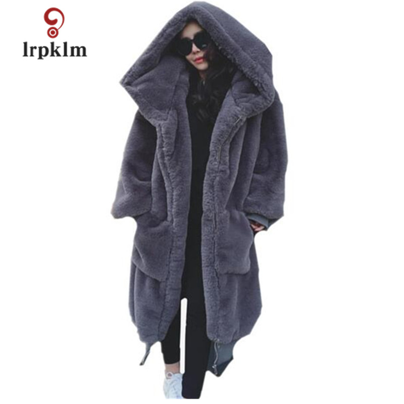2018 New Fashion Women Winter Coats Whole Leather Rex Rabbit fur Coat Hooded Large Size Loose Warm Fur Long Coat PQ338