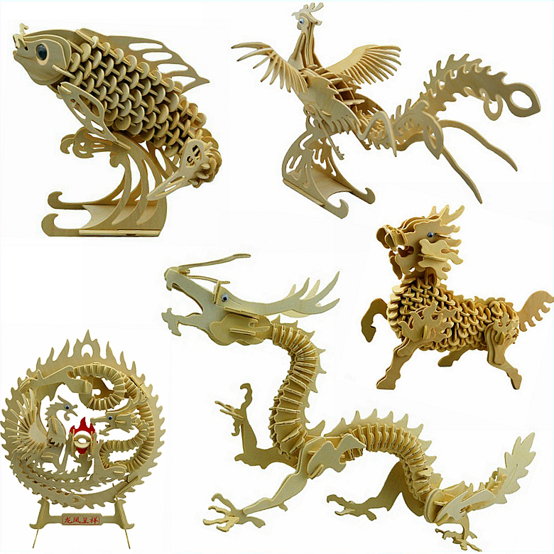 Candice Guo Wooden Toy 3D Wood Puzzle Building Model Fish Dragon Phoenix Kylin Ancient Chinese Legend Animal Office Ornament 1pc