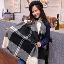 Брендовый кашемировый дизайнерский шарф в клетку, женская модная теплая зимняя шаль для женщин, шаль из пашмины