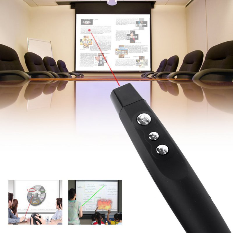 Wireless USB PPT Presenter PowerPoint Remote Control Presentation Pointer Sliver and Black abcnovel a180 wireless 2 4ghz remote control presenter black silver 1 x aaa